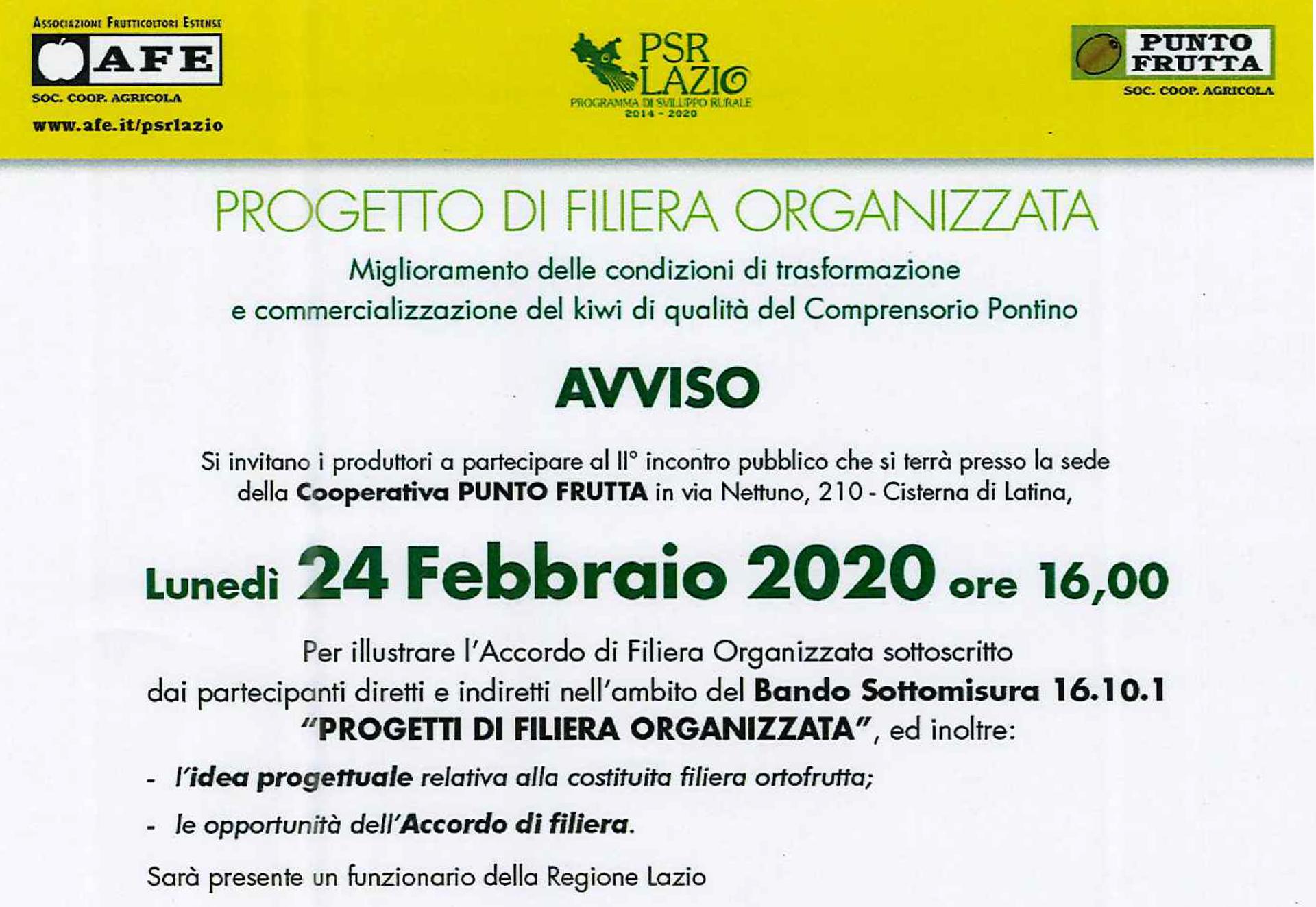 24 febbraio 2020 progetti di filiera organizzata